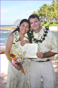 Couple with their certificate